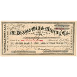 Mt. Diablo Mill & Mining Company Stock Certificate   (103504)