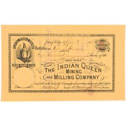 Indian Queen Mining & Milling Co. Stock Certificate   (104371)