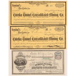 Eureka Mining & Tunnel Stock Certificates   (107016)