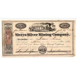 Sierra Silver Mining Company Stock Certificate --Genoa, Nevada Territory   (107045)