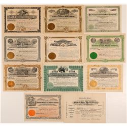 Eleven Different Goldfield, Nevada Mining Stock Certificates   (107088)