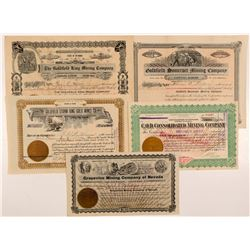 Five Different Goldfield Mining Stock Certificates   (107095)