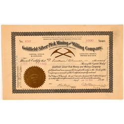 Goldfield-Silver Pick Stock Cert. (1)   (108157)