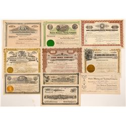 Ten Different Goldfield Mining Stock Certificates   (107085)