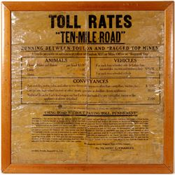 10 Mile Road Toll Rates Sign on Cloth   (106485)