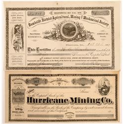 Two Humboldt County, Nevada Mining Stock Certificates   (104442)