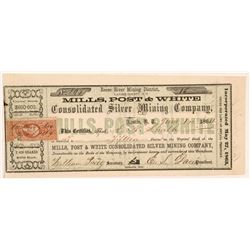 Mills, Post & White Consolidated Silver Mining Co. Stock Certificate   (107101)