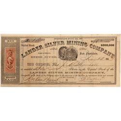 Lander SIlver Mining Company Stock   (103579)