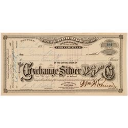 Exchange Silver Mining & Milling Co. Stock Certificate   (107015)