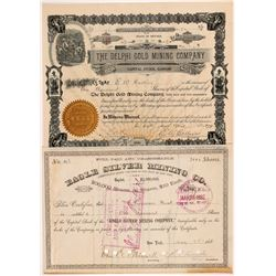 Two Nevada Mining Stock Certificates: Lander & Lyon Counties   (104376)