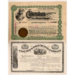 Columbus Black Hills South Dakota Stock Certs. (2)   (106028)