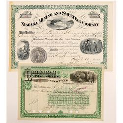 Niagara Mining & Smelting Company Stock Certificates   (107210)