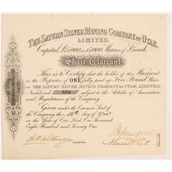 Saturn Silver Mining Co. of Utah, Ltd. Stock Certificate   (107206)