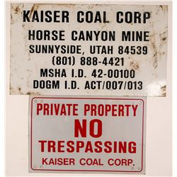 Kaiser Coal Utah Mine Signs (2)   (108241)