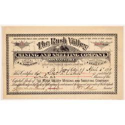 Rush Valley Mining & Smelting Co. Stock Certificate   (107215)