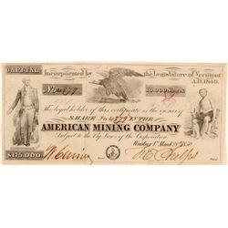 Mining Stock/ American Mining Company.   (105024)