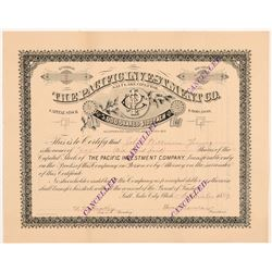 Pacific Investment Company Stock Certificate (Coal Mining)   (107203)