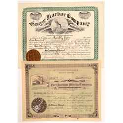 Two Different Washington Stock Certificates: Mining & Real Estate   (107098)