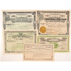 Five Different Washington Mining Stock Certificates   (104388)