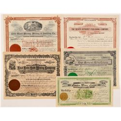 Five Different Washington Mining Stock Certificates   (104384)