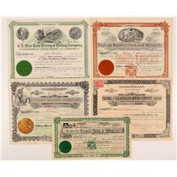 Five Different Washington Mining Stock Certificates   (104382)