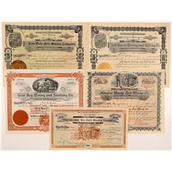 Five Different Washington Mining Stock Certificates   (104395)