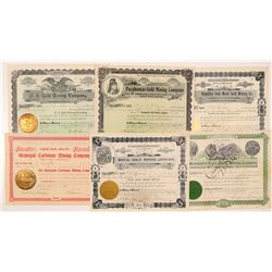 Six Different Washington Mining Stock Certificates   (104386)