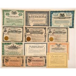 Twelve British Columbia Stock Certificates   (104480)