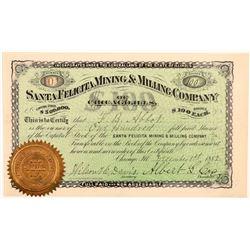 Santa Felicita Mining & Milling Co. Stock Certificate   (107001)