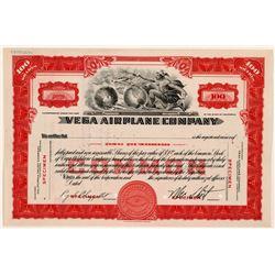 Vega Airplane Company Stock Certificate -- Specimen   (107370)