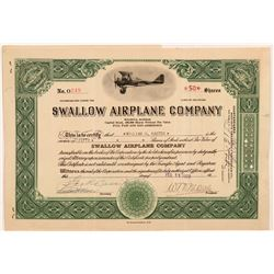 Swallow Airplane Company Stock Certificate   (107373)