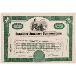 Security Aircraft Corp stock certificate   (106302)