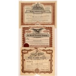 Three Different Aeroplane Co. Stock Certificates   (107371)