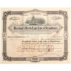 Heerman's Devils Lake Line of Steamers Stock   (83438)