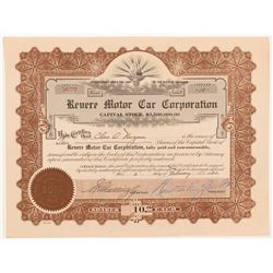 ReVere Motor Car Corporation Stock Certificate   (104281)