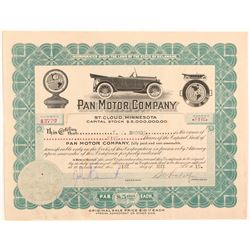 Pan Motor Company Stock Certificate Signed by Pandolfo   (104180)