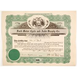 Ford Motor Cycle and Auto Supply Stock signed by WW Ford   (88855)