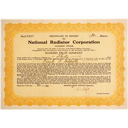 National Radiator Corp. Certificate of Deposit   (89656)