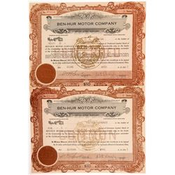 Ben-Hur Motor Car Company Stock Certificates   (104265)