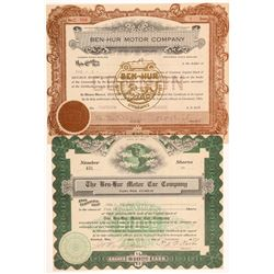 Ben-Hur Motor Car Company Stock Certificates   (103506)