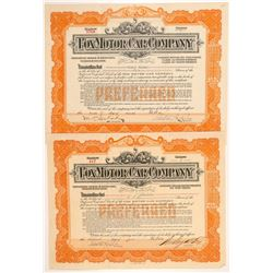 Fox Motor Company Stock Certificates (Pair)   (104205)