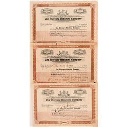 Mercury Machine Company (Auto) Stock Certificates inc. Number 1   (104275)