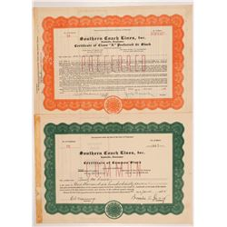 Southern Coach Lines, Inc. Stock Certificates   (104234)