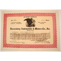 Dusenberg Automobile & Motors Stock   (79919)