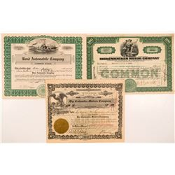 Three Different Auto Company Stock Certificates   (104255)