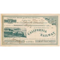 California Railway Stock Cert    (106655)