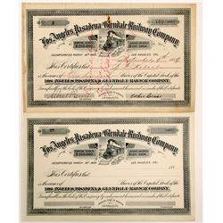 Los Angeles, Pasadena and Glendale Railway Co. stock   (102458)