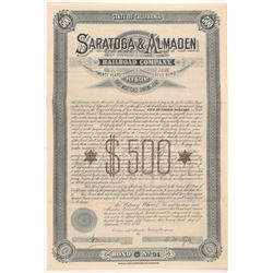 Saratoga & Almaden Railroad Company Gold Bond   (106652)
