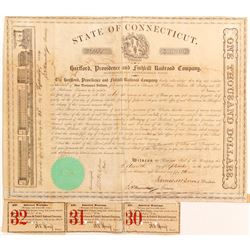 Hartford, Providence and Fishkill Railroad Bond   (83234)