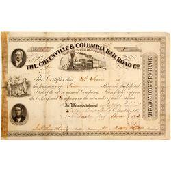 Greenville & Columbia Railroad Stock   (83241)